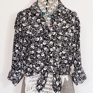 Black and White Long Sleeve Button Down Shirt